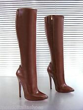 MORI ITALY EXTREME HEEL KNEE HIGH BOOTS STIEFEL STIVALI LEATHER BROWN MARRONE 41