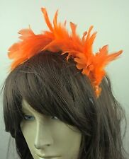 orange feather headband fascinator hair band wedding bridal race party ascot
