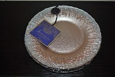 ARTISTIC ACCENTS DINNER/SALAD PLATE SILVER/PINK HAND DECORATED GLASS SET/4