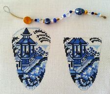 SO ~~ Assoc.Talents Oriental Blue Scissor Case & Bead Fob  HP Needlepoint Canvas