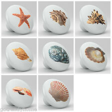 Set of 8 Sea Shell Design Ceramic Knobs Pull Kitchen Drawer Cabinet Bar 618