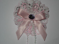 pink/white lace chidrens hair bobble with pink ribbon bow/ bead/beaded string