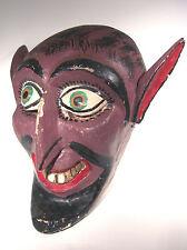 Vintage Carved Wood Folk Art Mask Scarey Hideous Primitive