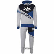 Brand New Mens Boys Luxuary Fleece Addicted,TrackSuit Jogging Bottom Hoodie Top