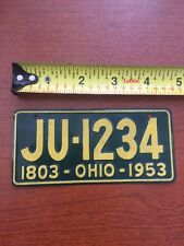 1803 - Ohio - 1953 Mini Metal License Plate JU-1234