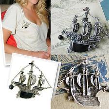 Vintage Sailing Boat Ship Pirate Vessel Dragon Black Pearl Brooch Pin Silver
