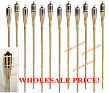 "8 Pcs 48"" NEW BAMBOO TIKI TORCHES Yard Party Garden Lamp Mosquito Metal"