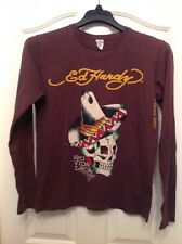 ED HARDY 100% Cotton Brown Graphic Long Sleeve Top Size M