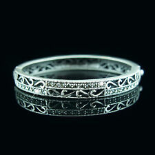 Ancient Silver Swarovski elements filigree vintage crystals bangle bracelet