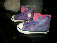 Brand New Toddler Girls Purple & Pink Converse CT Party Hi Lace Tennis Shoes, 5