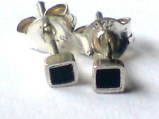 STERLING SILVER & BLACK ONYX SMALL SQUARE 3mm STUD EARRINGS only £5.50 NWT