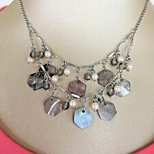 "Lia Sophia Abalone 18"" Necklace with Signature Tab New!"