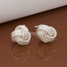 Silver Plated Twisted Knit Knotted Ball Ear Stud Earrings Valentine's Day Gift