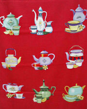 clothworks ~ LAND OF TEA ~ fabric asian teapots teacups japanese chinese