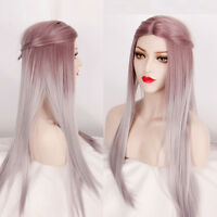 Anime Girl Fashion Long Straight Hair Full Wig Lolita Ombre Silver Cosplay Party