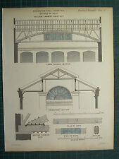 1858 CARPENTARY JOINERY ARCHITECTURE PRINT ~ MYDDELTON HALL ISLINGTON LAMBERT