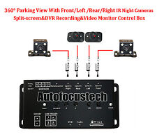 360° Parking View Monitoring DVR Box&Front Rear Side 4 IR Cameras Night Vision