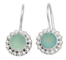 Aqua Chalcedony Gemstone Earrings Solid 925 Sterling Silver Jewelry IE20669