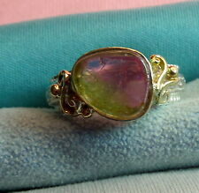 Sterling Silver W/14k Gold Bezel Watermelon Tourmaline Floral Ring skaisMA17