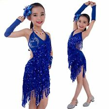 Kids Girls Latin Salsa Sequin Party Dance Dress Skirts + Gloves Sets 4-15 Years