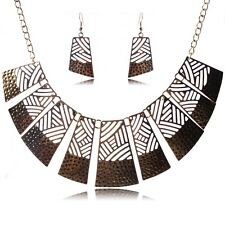 Golden Geometric  Collar Bronze/Tibet silver chain Necklace earrings jewelry set