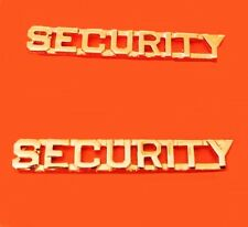 """Security Officer Collar Pin Set 1/4"""" Cut Out Letter Device Gold Plated 2200 New"""