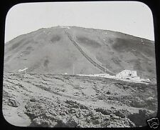 Glass Magic lantern slide THE RAILWAY STATION MOUNT VESUVIUS C1900 SICILY ITALY