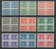Italy 1945 Sc# J54/64 Arms Postage due Watermrk 277 (wheel) blocks 4 MNH CV $710