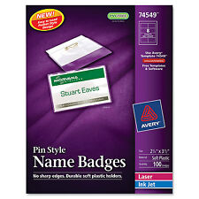 Avery Badge Holder Kit w/Laser/Inkjet Insert Top Load 2 1/4 x 3 1/2 White 1