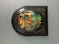 "Russian Small Lacquer box Palekh "" Church ""  Hand Painted With Mirror Insde"