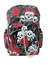 SKULL ROSE Red Black PVC Backpack Rucksack School College Goth Emo Rock Punk Bag