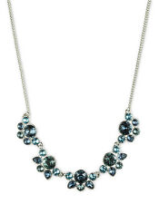 GIVENCHY Swarovski Blue Crystal Silver Tone Frontal Necklace NWT $98