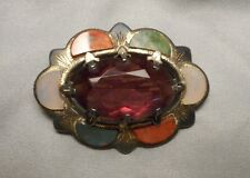 Antique Scottish Brooch - Sterling Silver Multi Agate & Faceted Oval Amethyst