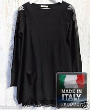 Chiquita Lace Insert to Long Sleeve Style Black Dress w/ Front Pockets IA-0175