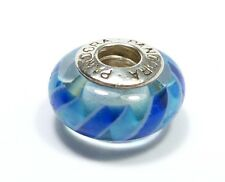 AUTHENTIC PANDORA 925 ALE SILVER & MURANO GLASS BLUE STRIPES BEAD CHARM 790611