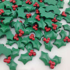 20Pcs Green Christmas Holly leaf Resin Flatback Buttons Scrapbooking Craft 20mm