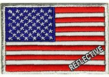 "(QQ) Reflective AMERICAN FLAG 3"" x 2"" iron on patch (2654) Biker vest"