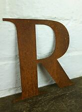 R Rusty Rusted Steel Metal Letter Industrial Sign Garden Decoration Ornament
