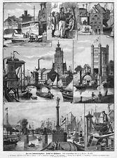 Duisburg, Ruhrhäfen, Original-Holzstich von 1893