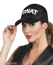 *LADIES MENS POLICE SWAT BLACK EMBROIDERED BASEBALL CAP FANCY DRESS COSTUME HAT*