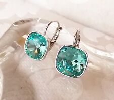 Turquoise Blue Leverback Drop Earrings made with Cushion Cut Swarovski Crystal