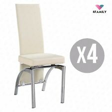 Set of 4 Cream Dining Chairs w/Backrest Leather Dining Room Furniture