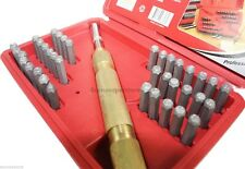 39pc STEEL METAL AUTOMATIC HAND LETTER and NUMBER ID STAMPING PUNCH TOOL KIT SET