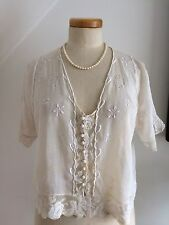 Vintage 1800s French Chemise Crop Blouse Fine Lawn Raised Silk Embroidery Lace