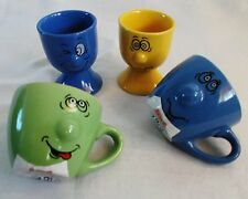 Funny Face Single Espresso Cup and Egg Cup Multi-Colour 4 Piece Ceramic Set