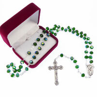 Long emerald green iridescent glass rosary beads our lady center Catholic in box