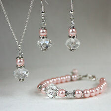 Pink vintage crystal pearl necklace bracelet earrings wedding bridesmaid set