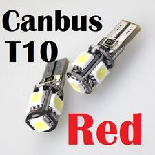 2 PCS T10 W5W LED Red Canbus Error Free Interior Dash Light Bulbs Door Courtesy