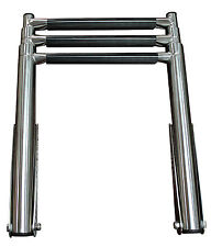 "3 Step Stainless Steel Telescoping Marine Boat Ladder Upper Platform 10"" Width"