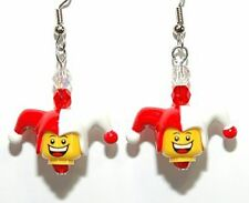RED & WHITE LEGO JESTER DANGLE EARRINGS (L029)